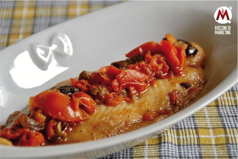 Filetto di pangasio con pomodorini e olive nere